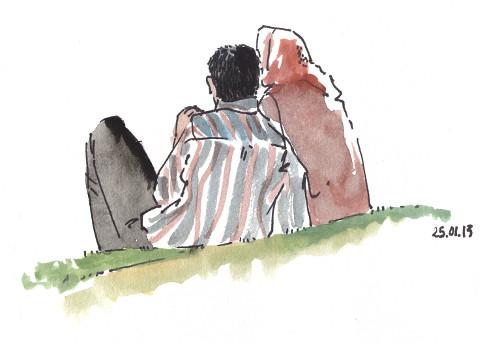 Couple au jardin botanique