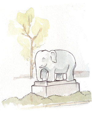 Elephant en pierre Yelahanka