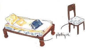 le plastique est resté sur les meubles