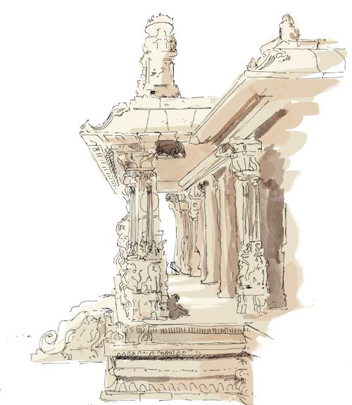 Temple croqué au milieu de singes