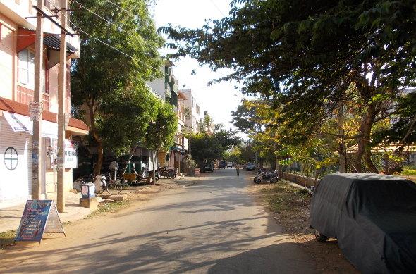 les rues tranquilles de Yelahanka